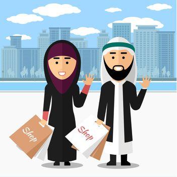 Arab couple shopping