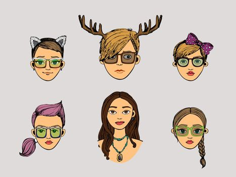 girls heads in hipster style