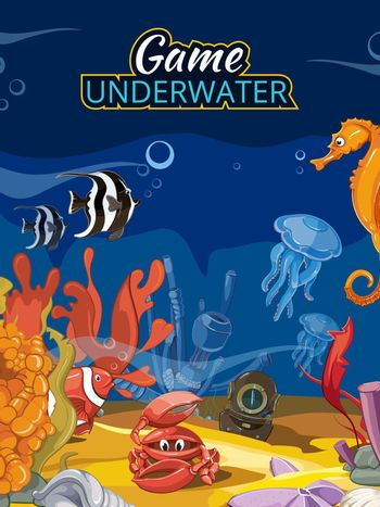 Underwater world computer game. Vector screen in cartoon style with title