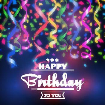 Typographic happy birthday vector background