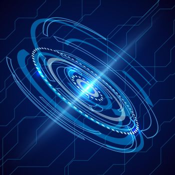 Abstract electric telecom. Sci-fi techno vector background