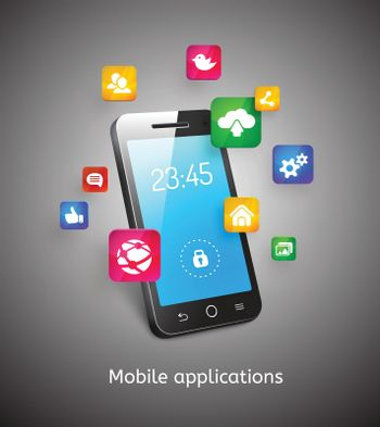 smartphone with clouds and app icons