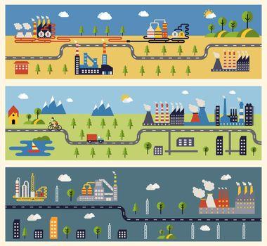 Industrial factories banners