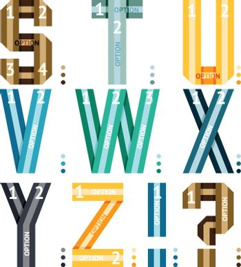 Alphabet letters of ribbons and lines