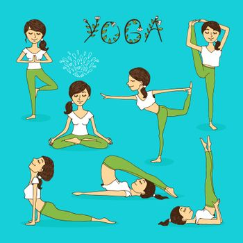 Vector hand-drawn yoga poses