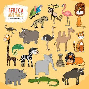 Animals of Africa hand-drawn illustration