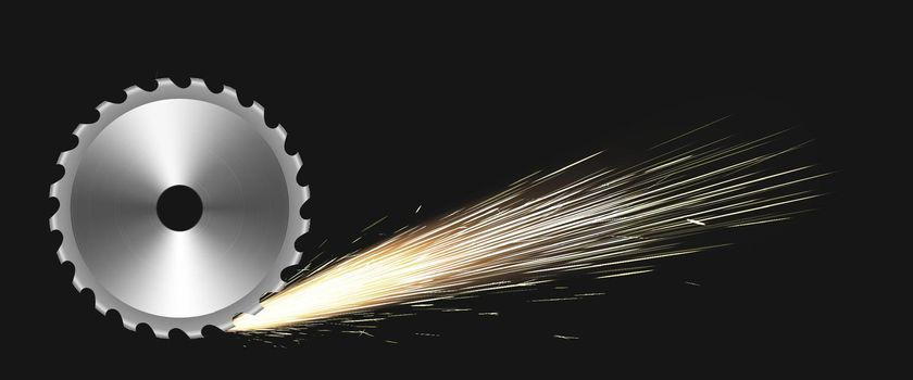 Rotating circular saw blade with fire sparks