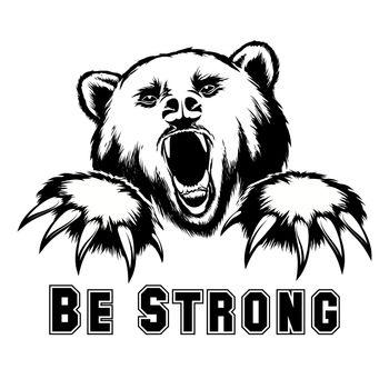 Vector angry bear head