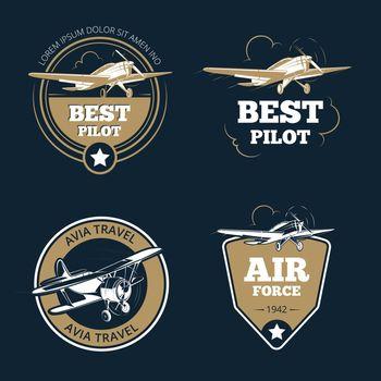 Aircraft and transportation labels. Air tourism vector emblems