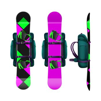 Snowboards with bindings and backpack