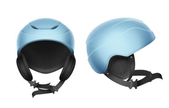 Blue protective helmet