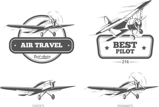 Aviation vector badges, logos, emblems, labels