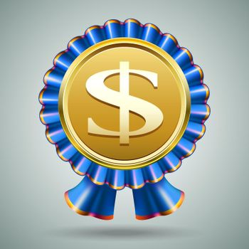 Dollar sign in a blue ribbon rosette
