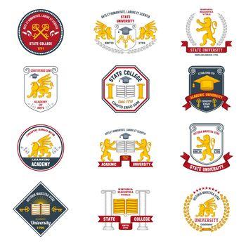 University Labels Colored