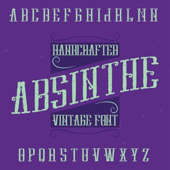 Absinthe label font and sample label design with decoration.