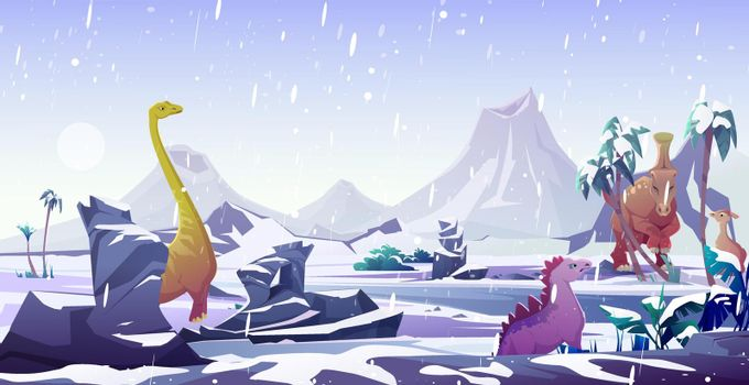 Dinosaurs in ice age. Animals extinction by cold