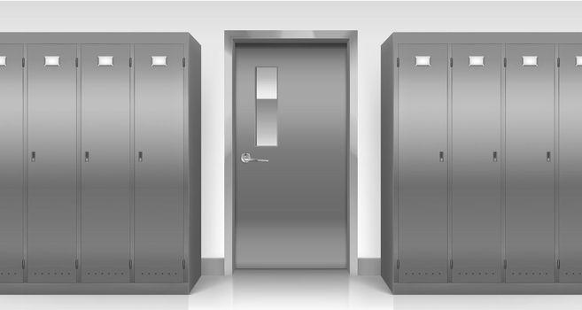 Steel lockers and door, changing room cabinets