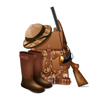 Hunting equipment retro icon