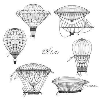 Balloon And Airship Doodle Set