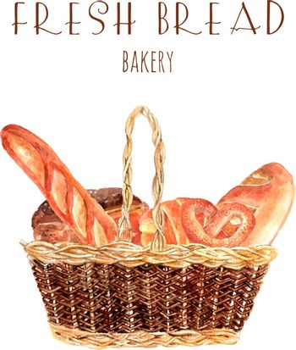 Fresh bread baker basket illustration
