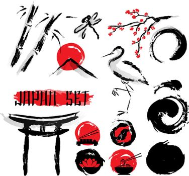 Japanese Sumie Ink Painting Icons Set