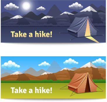 Adventure And Hike Banners Set