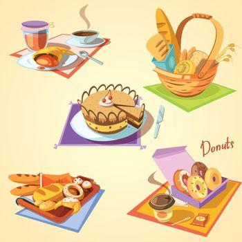 Bakery cartoon set