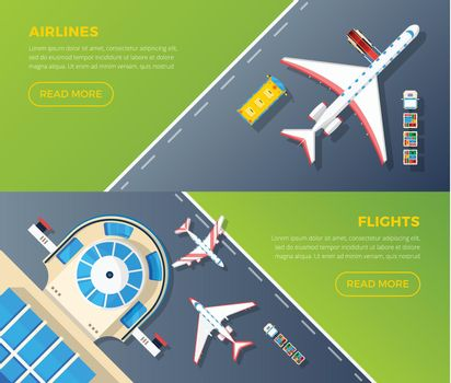 Airport Top View Horizontal Banners Set