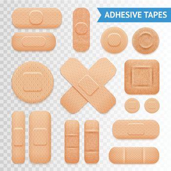 Adhesive Plaster Strips Set Transparent Background