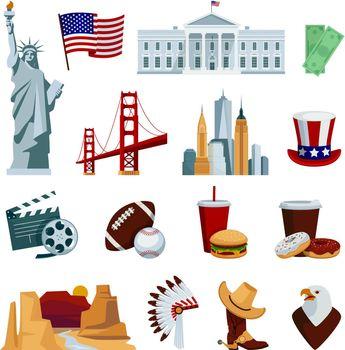 USA Flat Icons Set