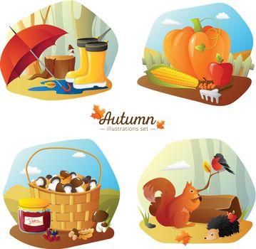 Autumn 4 Icons Square  Set