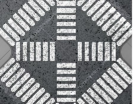 Road intersection with crosswalk top view