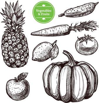 Vegetables And Fruits Set