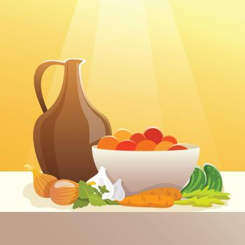 Vegetables And Pitcher Still Life
