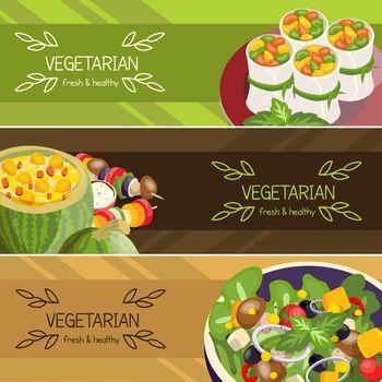 Vegetarian Food Horizontal Banners Set