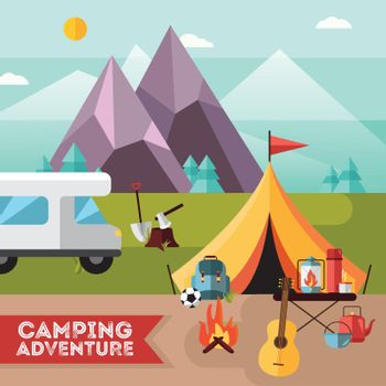 Camping Hiking Adventure Flat Background Poster