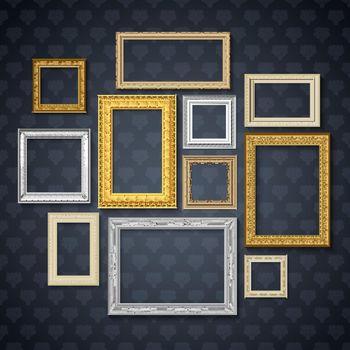 Frames On Dark Wall Set