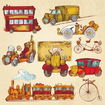 Vintage Transport Sketch Colored