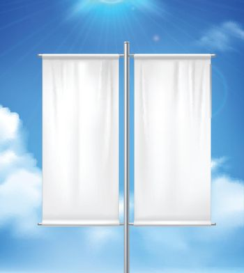 Blank Double Advertisement Banner Realistic image
