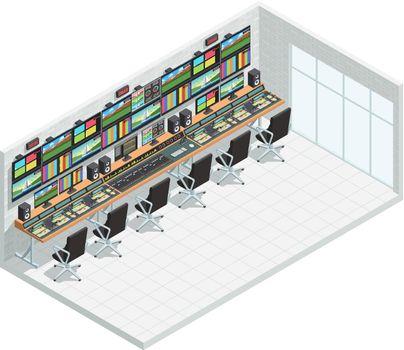 Broadcast Studio Isometric Interior