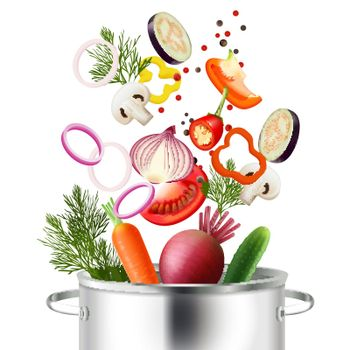 Vegetables And Pot Concept