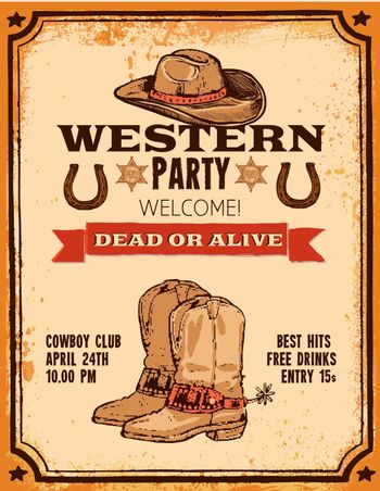 Western Hand Drawn Poster