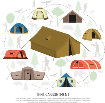 Camping Tents Selection Composition  Advertisement Poster