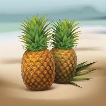 Pineapples on seaside