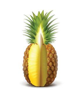 Ripe sliced pineapple
