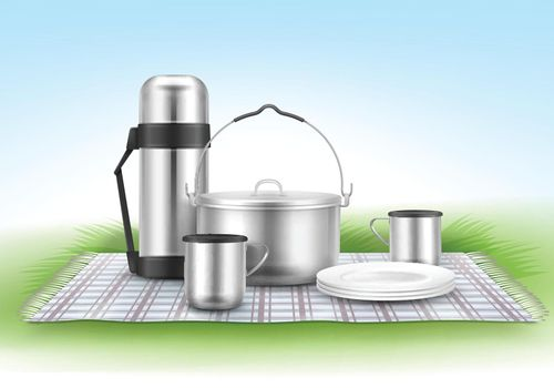Picnic blanket with tableware