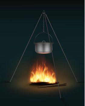 Camping pot on bonfire