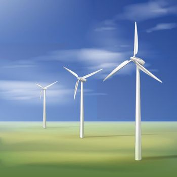 Three wind turbines