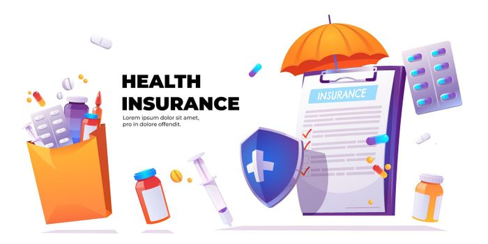 Vector banner of health insurance service