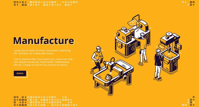 Manufacture isometric landing page, web banner